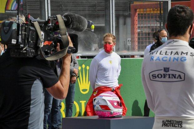 Sebastian Vettel Nicholas Latifi Anthoine Hubert Ferrari Ferrari F1Williams Williams F1 ~Sebastian Vettel (Ferrari), Nicholas Latifi (Williams) und Anthoine Hubert ~