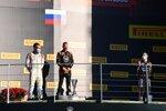 Nikita Masepin (Hitech), Luca Ghiotto (Hitech) und Louis Deletraz (Charouz)