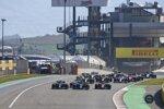 Lewis Hamilton (Mercedes), Valtteri Bottas (Mercedes), Charles Leclerc (Ferrari) und Lance Stroll (Racing Point)