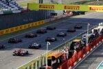 Lewis Hamilton (Mercedes), Valtteri Bottas (Mercedes) und Daniel Ricciardo (Renault)