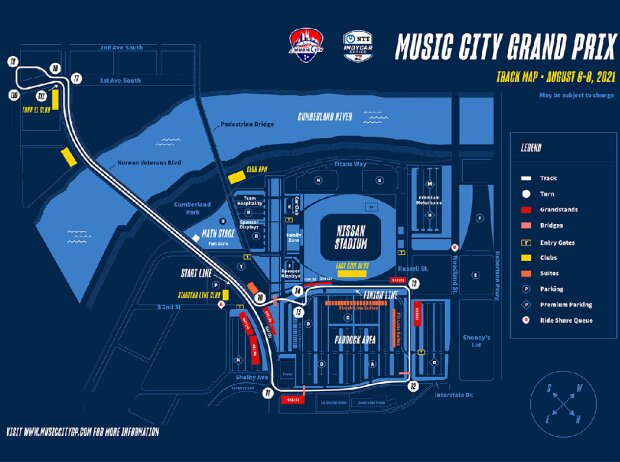 Streckenskizze: Stadtkurs in Nashville