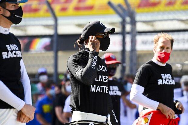 Nicholas Latifi Lewis Hamilton Sebastian Vettel Ferrari Ferrari F1Williams Williams F1Mercedes Mercedes F1 ~Nicholas Latifi (Williams), Lewis Hamilton (Mercedes) und Sebastian Vettel (Ferrari) ~