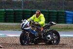Eugene Lavertys BMW S1000RR nach dem Sturz