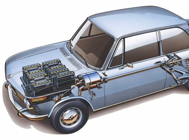 Der BMW 1602 mit Elektromotor für die Olympiade 1972