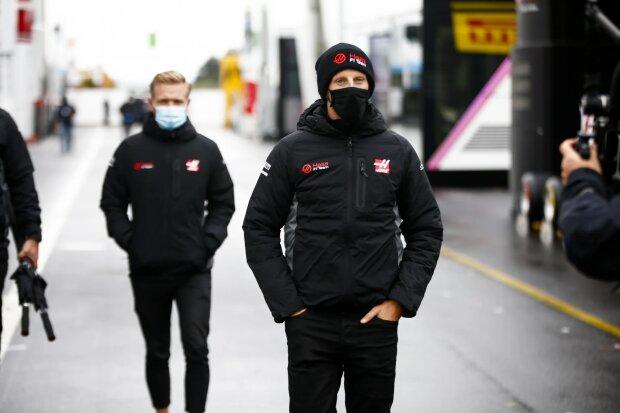 Romain Grosjean Kevin Magnussen Haas Haas F1 ~Romain Grosjean (Haas) und Kevin Magnussen (Haas) ~