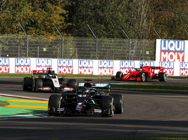 Lewis Hamilton, Romain Grosjean, Sebastian Vettel
