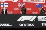 Valtteri Bottas (Mercedes), Lewis Hamilton (Mercedes) und Daniel Ricciardo (Renault)