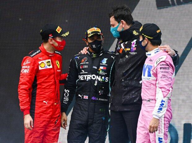 Sebastian Vettel, Lewis Hamilton, Toto Wolff, Sergio Perez