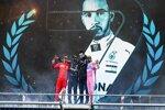 Sebastian Vettel (Ferrari), Lewis Hamilton (Mercedes), Toto Wolff und Sergio Perez (Racing Point)