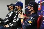 Max Verstappen (Red Bull), Valtteri Bottas (Mercedes) und George Russell (Mercedes)