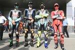 Luca Marini (Esponsorama), Franco Morbidelli (Petronas), Valentino Rossi und Francesco Bagnaia (Ducati)