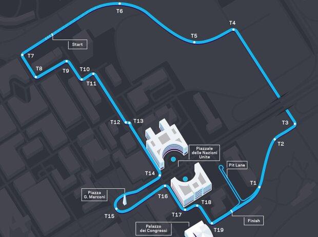Streckenlayout für den E-Prix Rom 2021