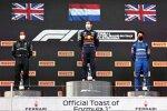 Lewis Hamilton (Mercedes), Max Verstappen (Red Bull) und Lando Norris (McLaren)