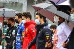 Charles Leclerc (Ferrari), Sergio Perez (Red Bull) und Lewis Hamilton (Mercedes)