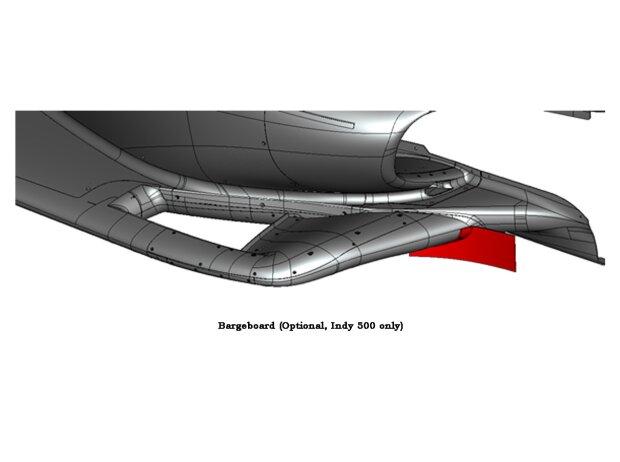 Optionales Bargeboard am IndyCar-Unterboden für das Indy 500 im Mai 2021