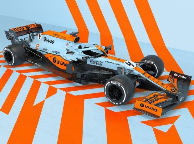Gulf-Lackierung von McLaren für den Grand Prix von Monaco 2021