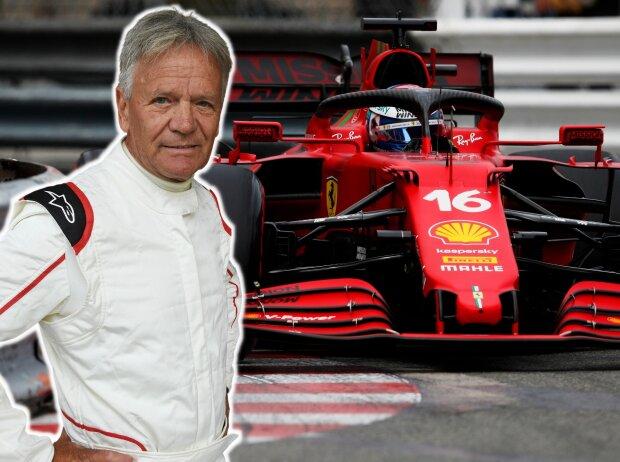 Fotomontage: Marc Surer und Charles Leclerc beim Grand Prix von Monaco 2021