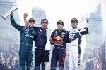 Sebastian Vettel (Aston Martin), Sergio Perez (Red Bull) und Pierre Gasly (AlphaTauri)