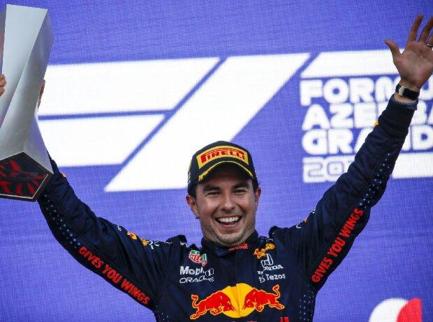 Sergio Perez Pokal Siegerehrung
