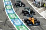 Lando Norris (McLaren), Lance Stroll (Aston Martin) und Valtteri Bottas (Mercedes)