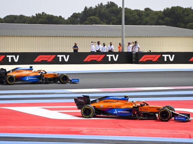 Lando Norris wird von Daniel Ricciardo in Le Castellet abgedrängt