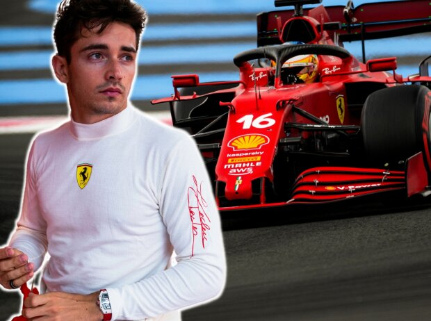 Charles Leclerc (Ferrari) beim Grand Prix von Frankreich in Le Castellet (Circuit Paul Ricard) 2021 (Fotomontage)