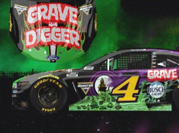 Grave-Digger-Design am Stewart/Haas-Ford von Kevin Harvick für das NASCAR-Rennen in Nashville 2021