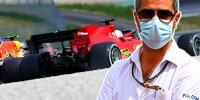 Zweikampf zwischen Sergio Perez (Red Bull) und Charles Leclerc (Ferrari) beim Grand Prix von Österreich auf dem Red-Bull-Ring in Spielberg 2021 (Fotomontage mit FIA-Rennleiter Michael Masi)