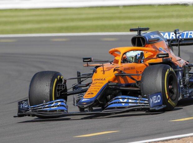 Daniel Ricciardo im McLaren MCL35M auf dem Silverstone Circuit beim Grand Prix von Großbritannien der Formel 1 2021 in Silverstone in England
