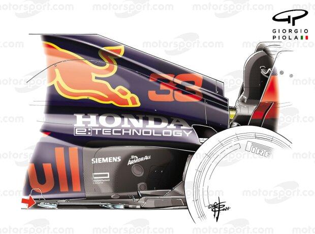Veränderung am Unterboden am Red Bull RB16B in Silverstone