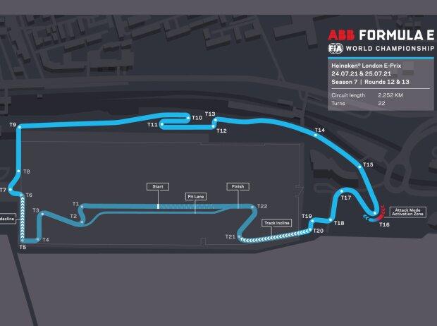 Streckenlayout für den E-Prix London der Formel E 2021