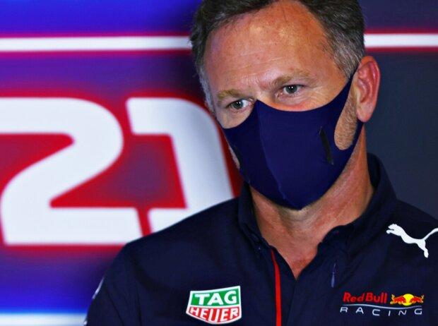 Christian Horner (Red-Bull-Teamchef) in der Freitags-Pressekonferenz beim Grand Prix von Großbritannien in Silverstone 2021