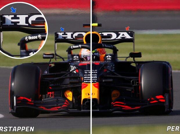 Der Red-Bull-Heckflügel von Max Verstappen und Sergio Perez beim Formel-1-Rennen in Silverstone im Vergleich