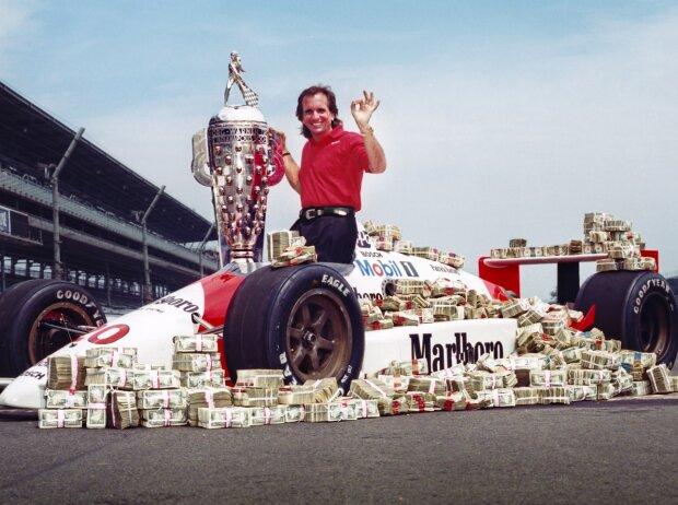 Emerson Fittipaldi nach seinem Indy-500-Sieg 1989
