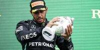 Lewis Hamilton (Mercedes): Bei der Siegerehrung nach dem Grand Prix von Ungarn 2021 waren mögliche Spätfolgen (Long COVID) seiner Coronaviruserkrankung im Jahr 2020 unübersehbar