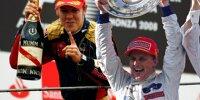 Fotomontage: Sebastian Vettel 2008 in Monza und Johnny Herbert 1999 am Nürburgring als Rennsieger in der Formel 1