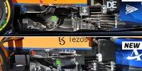 Windabweiser am McLaren-Mercedes MCL35M der Formel 1 2021 vor und nach dem Update beim Grand Prix von Ungarn in Budapest