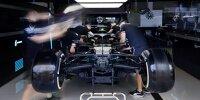 Der MErcedes von Lerwis Hamilton in der Garage beim Formel-1-Rennen in Silverstone