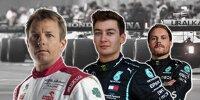 Kimi Räikkönen, George Russell und Valtteri Bottas (Fotomontage)
