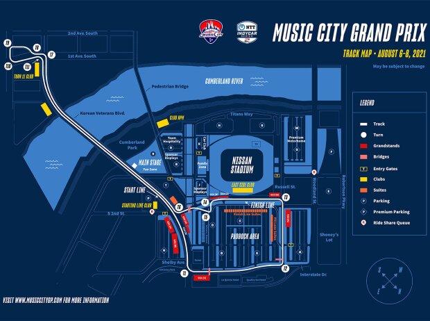Streckenlayout des IndyCar-Stadtkurses in Nashville
