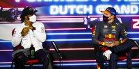 Lewis Hamilton (Mercedes) und Max Verstappen (Red Bull) in der Pressekonferenz nach dem Qualifying zum Formel-1-Rennen in Zandvoort 2021