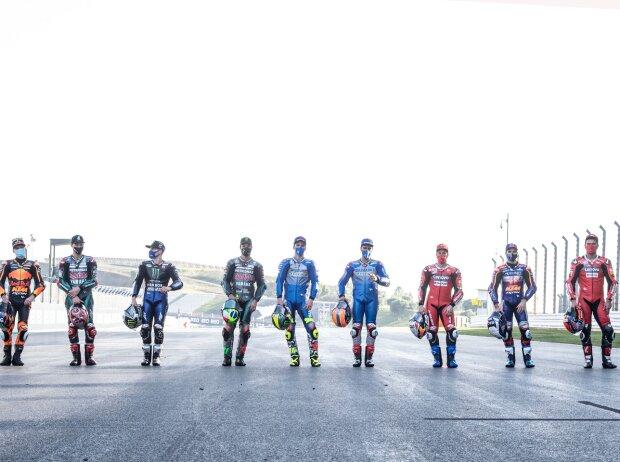 Die neun MotoGP-Rennsieger 2020: Brad Binder, Fabio Quartararo, Maverick Vinales, Franco Morbidelli, Joan Mir, Alex Rins, Andrea Dovizioso, Miguel Oliveira, Danilo Petrucci