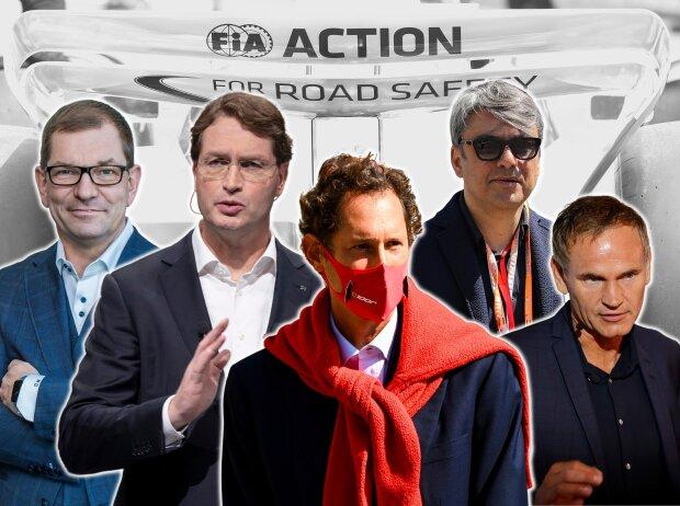 Markus Duesmann (Audi), Ola Källenius (Daimler), John Elkann (Ferrari), Luca de Meo (Renault) und Oliver Blume (Porsche)