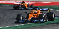 Daniel Ricciardo führt vor seinem McLaren-Teamkollegen Lando Norris beim Grand Prix von Italien in Monza 2021