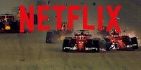 Das Netflix-Logo über einem Foto vom Startcrash zwischen den Ferrari-Teamkollegen Sebastian Vettel und Kimi Räikkönen beim Grand Prix von Singapur 2017