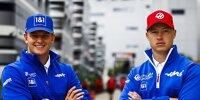 Fahrerbekanntgabe Haas-Team 2022: Mick Schumacher und Nikita Masepin posieren im Fahrerlager beim Grand Prix von Russland in Sotschi 2021