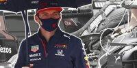 Max Verstappen (Red Bull) hält einen Regenschirm, im Hintergrund sieht man einen Honda-Motor im RB16B (Fotomontage)