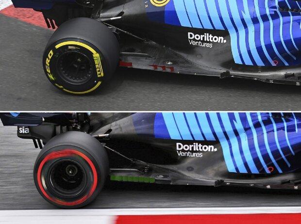 Unterboden-Vergleich am Williams FW43B in der Formel-1-Saison 2021