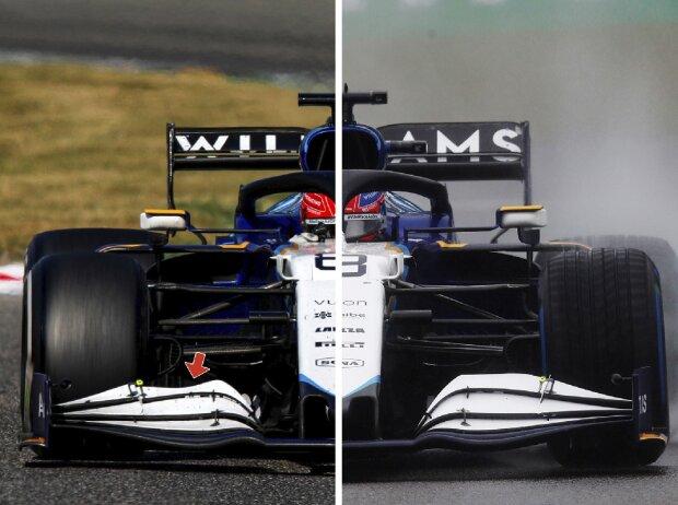 Frontflügel-Vergleich am Williams FW43B aus der Formel-1-Saison 2021