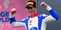 David Schumacher (Trident) jubelt auf dem Podium in Spielberg 2021 über seinen ersten Sieg in der Formel 3
